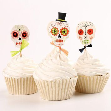 ICIKDZ2 24pcs/lot Halloween skull Cupcake Wrappers Liners Party Decorations #03