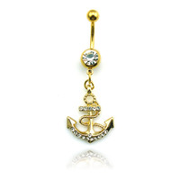 Fashion Stainless Steel Belly Button Rings Dangle Golden Anchor Navel Body Piercing Jewelry
