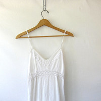Vintage gorgeous white boho beach slip dress with lace / mini summer sundress