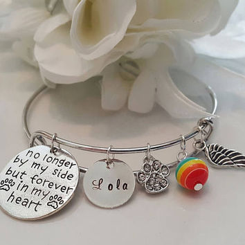 Pet Loss bracelet, Dog, Cat, No longer by my side but forever in heart Memorial, Sympathy, Hand stamped, Custom, Personalized, Gift