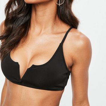 Missguided - Premium Black Neoprene Plunge Bikini Set