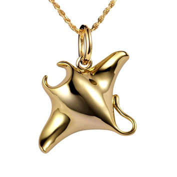 YELLOW GOLD SILVER 925 HIGH POLISH SHINY HAWAIIAN MANTA RAY FISH CHARM PENDANT