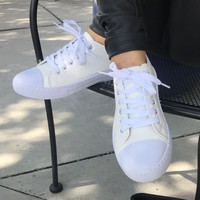 Leather Low Rise Sneakers White