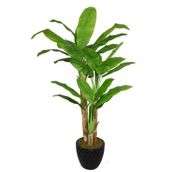 """78"""" Artificial  Banana Tree with Real Touch Leaves in 13.6"""" Black Decorative Honeycomb Planter"""