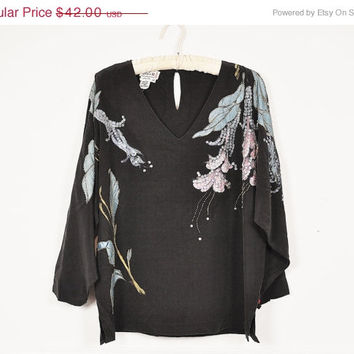 30% off SALE black silk gold pastel hand painted iridescent sequin art nouveau floral batwing kimono blouse vintage 1970s M L