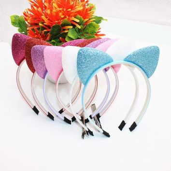 LMFONJ Cute Girls Hair Bands Glisten Cat Ears Headband Beautiful Solid Color Stretch Kids Headbands Hair Accessories