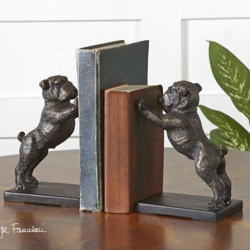 Bulldogs Cast Iron Bookends, Set/2 By Uttermost
