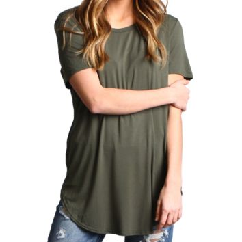 Army Green Piko Short Sleeve Curved Hem Top