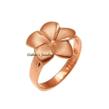 SOLID 14K ROSE GOLD HAWAIIAN 14MM SINGLE PLUMERIA FLOWER RING
