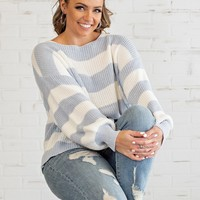 Head In The Clouds Sweater : Blue/White