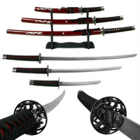 Deluxe Red Dragon Katana Samurai Sword Set of 3 w- stand