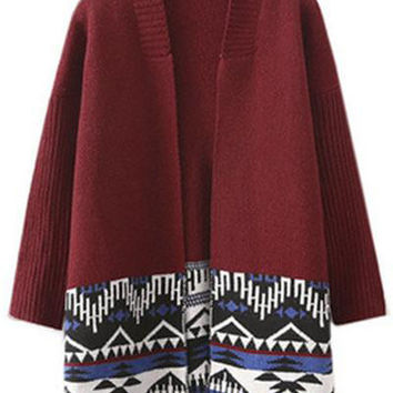Cupshe Daisy Does It Wine Sweater Cardigan