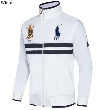 POLO RALPH LAUREN 2018 autumn and winter new men's casual sports cardigan jacket White