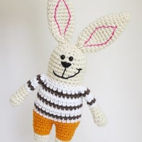 Crochet bunny rattle - soft toy bunny with orange pants and brown striped shirt - organic baby toy