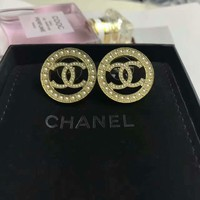 Chanel stud New arrival Electroplating of 18 K gold with retro earrings stud gold