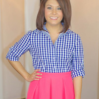 Girly In Gingham Button Down-Blue
