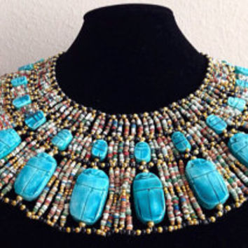 Ancient Egyptian mummy Beaded Cleopatra Collar with earrings