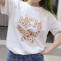 MCM Popular Women Men Leisure Print Short Sleeve Round Collar T-Shirt Top White I-AA-XDD