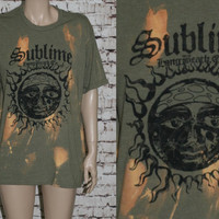 90s Tshirt Sublime Long Beach Californa Sun Army Green Band Hipster Tee Graphic festival Skat Skater Sur Punk Grunge tie dye Boho Surf L XL