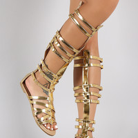 Metallic Strappy Buckle Open Toe Gladiator Knee High Flat Sandals