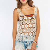 Colorful Printed Bandeau Top with Cinched Middle