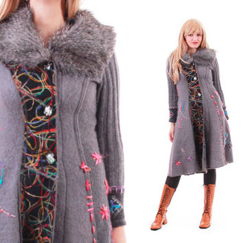 Mohair Sweater Coat Gray Colorful Wool Boho Chic Long Knit Cardigan Avant Garde Winter Outerwear Womens Size Medium