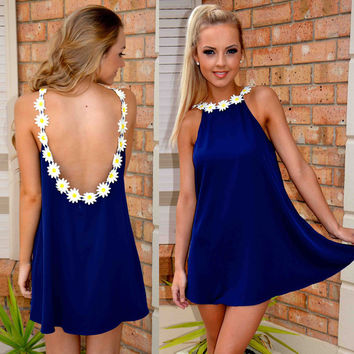 Backless Loose Chiffon A-line Short Dress