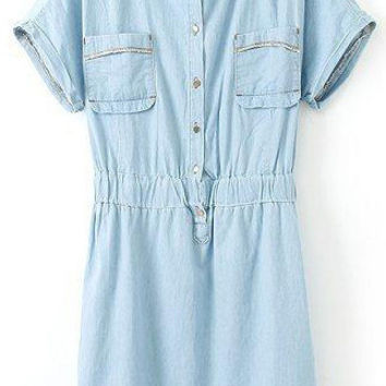 Light Blue Folded Short Sleeve Bottons down Neckline Denim Dress