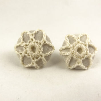 Crochet Lace Covered Post Earrings by toppytoppy on Etsy