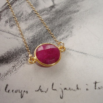 Pink Ruby Gold Necklace, Vermeil Bezel, 14K Gold Fill Chain, Solitaire Collection, Minimalist