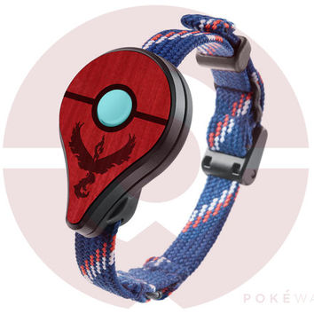Pokemon GO Plus | Valor Red | Real Wood Cover - Team Hardwood Veneer Skin Handmade - Nintendo App Accessory (PRE-ORDER) - PokeWares.com