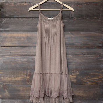 Ryu - whimsical fairytale lace dress slip - cocoa