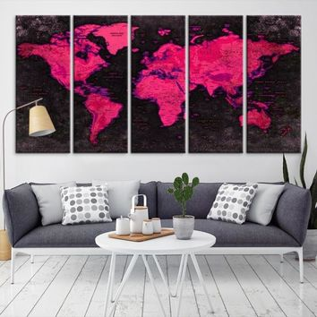 17191 - Geographic World Map Canvas Print, Detailed World Map Wall Art Print, Framed, Ready to Hang, Vintage Futuristic World Map Wall Art