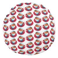 Colorful Espresso Cup and Saucer Photograph Round Pillow