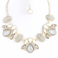 Mixed Gem and Crystal Link Necklace Set in - Silver Shimmer & Gold