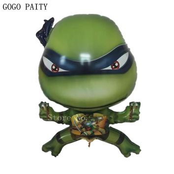GOGO PAITY  Free shipping ninja turtle aluminum balloon ball children birthday party decorating decorative toys self-sealing
