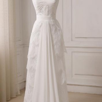 A-line Wedding Dresses Chiffon and Lace Sweetheart Pleats Beach Bridal Wedding Gowns
