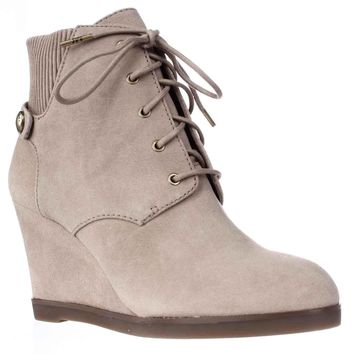 MICHAEL Michael Kors Carrigan Wedge Knit Cuff Lace Up Ankle Boots, Dark Khaki, 8 US / 38.5 EU