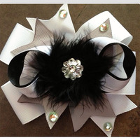 Black and white baby toddler girl hair bow