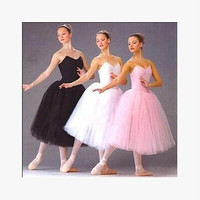 Adult Romantic Ballet Tutu Rehearsal Practice Skirt Swan Costume for Women Long Tulle Dress White pink black color