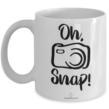 Oh Snap Photo Editing Camera Mug, Photography Gag Gifts for Photographers, Gifts for Coffee Lovers, with Funny Quote, 11oz