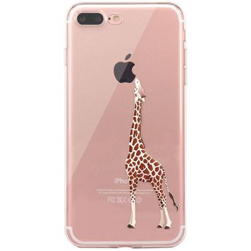 iPhone 7 Plus Case, iPhone 8 Plus Case, JAHOLAN Amusing Whimsical Design Clear TPU Soft Case Rubber Silicone Skin Cover for Apple iPhone 7 Plus / iPhone 8 Plus - Eating Giraffe