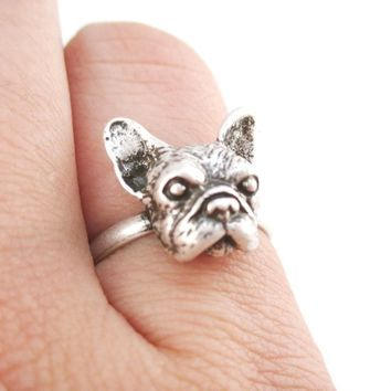 French Bulldog Face Shaped Frenchie Adjustable Ring