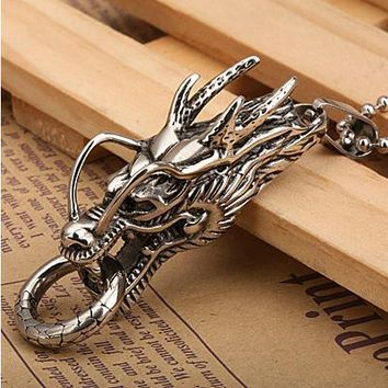 Vintage stainless steel personality Chinese dragon pendant necklace male Necklaces free shipping