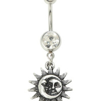14G Steel Moon & Sun Navel Barbell