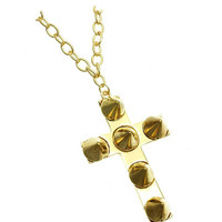 NECKLACE / CROSS / SPIKE / LINK / METAL / METAL CHAIN / CRYSTAL STONE / 2 1/4 INCH DROP / 18 INCH LONG / NICKEL AND LEAD COMPLIANT