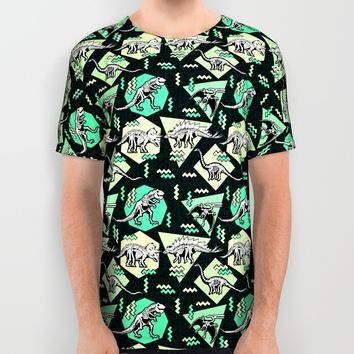 90's Dinosaur Skeleton Neon Pattern All Over Print Shirt by Chobopop