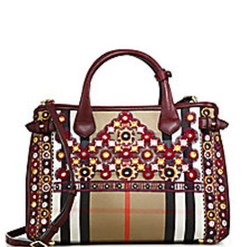 Burberry - Banner Medium Embroidered House Check Cotton & Leather Satchel - Saks Fifth Avenue Mobile