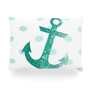 "Nika Martinez ""Glitter Anchor in Mint"" Teal Oblong Pillow"