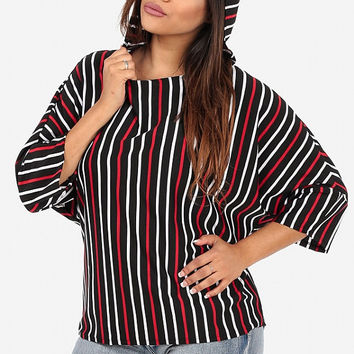Pullover blouse with hoodie